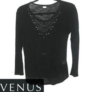 Venus Black Long Sleeve Top Medium